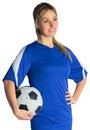 Pretty football fan in blue jersey on white background Stock Photography