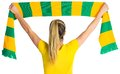 Pretty football fan in brasil t shirt on white background Royalty Free Stock Images