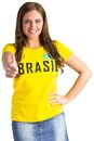 Pretty football fan in brasil t shirt on white background Stock Image