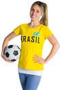 Pretty football fan in brasil t shirt on white background Stock Photography