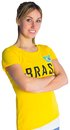 Pretty football fan in brasil t shirt on white background Royalty Free Stock Photography
