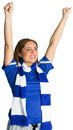 Pretty football fan cheering on white background Royalty Free Stock Images