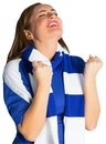 Pretty football fan cheering on white background Royalty Free Stock Photos