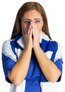 Pretty football fan looking nervous on white background Royalty Free Stock Photos