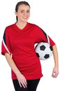 Pretty football fan in red on white background Stock Photography