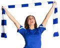 Pretty football fan waving scarf on white background Royalty Free Stock Image