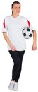 Pretty football fan in white on background Royalty Free Stock Photo