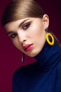 Pretty fresh girl fashionable image of modern twiggy with unusual eyelashes and bright accessories photos shot in studio Royalty Free Stock Image