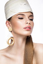 Pretty fresh girl image of modern twiggy in fashionable white hat with unusual eyelashes and accessories the photos shot Royalty Free Stock Photos