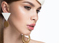 Pretty fresh girl image of modern twiggy with unusual eyelashes and accessories close up portrait in the photos shot in studio Royalty Free Stock Image