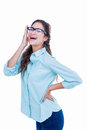 Pretty geeky hipster bending with one hand on head Royalty Free Stock Photo