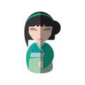 pretty geisha green kimono shadow