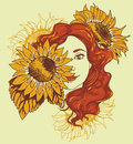 Pretty gilr with long curly hair and sunflowers