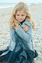 Pretty girl at the autumn beach little Royalty Free Stock Images