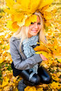 Pretty girl in autumn park Royalty Free Stock Photo