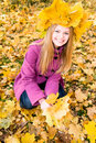 Pretty girl in autumn park Stock Photo
