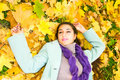 Pretty girl in autumn park Royalty Free Stock Images