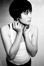 Pretty girl in B&W Royalty Free Stock Images