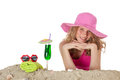 Pretty girl at the beach blond on summer vacation Royalty Free Stock Photography