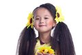 Pretty girl with beautiful hair and sunflowers Royalty Free Stock Images