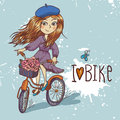 Pretty girl with bicycle this is file of eps format Royalty Free Stock Image