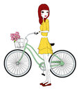 Pretty girl with bicycle illustration of Stock Photography