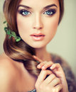 Pretty girl with big beautiful blue eyes emotional expressive charming Royalty Free Stock Photography