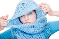Pretty girl in blue wool scarf Royalty Free Stock Photo