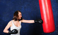 Pretty girl boxing Stock Photo