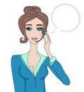 Pretty girl call center operator