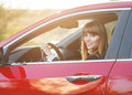 Pretty girl in a car Royalty Free Stock Photo