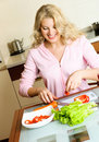 Pretty girl cooking Stock Photo