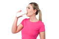 Pretty girl drinking water teen from sipper bottle Stock Image