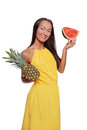 Pretty girl with fruit Stock Photography