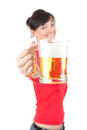 Pretty girl gives to you a mug of beer Stock Photography