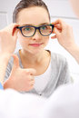 Pretty girl in glasses portrait of a at an ophthalmologist Royalty Free Stock Image
