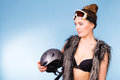 Pretty girl with goggle and helmet. Royalty Free Stock Photo