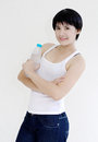 Pretty girl hold the bottle02 Royalty Free Stock Image