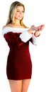 Pretty girl holding hands out in santa outfit on white background Royalty Free Stock Image