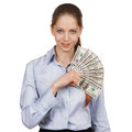 Pretty girl holding a hundred-dollar bills Royalty Free Stock Photo