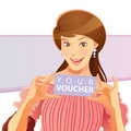 Pretty Girl Holding Voucher Stock Photo