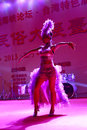 Pretty girl jumping samba in the welcome party taiwanese businessmen food festival held xiamen amoy city china Royalty Free Stock Photography