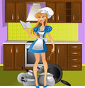 Pretty girl on the kitchen Royalty Free Stock Photos