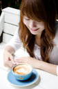Pretty girl with latte coffee01 Stock Photography