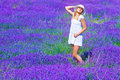 Pretty girl on lavender glade tanning in enjoying bright sun light and purple flowers landscape having fun outdoors in summer time Stock Images