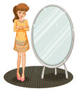 A pretty girl beside a mirror illustration of Stock Image