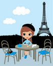 Pretty girl in the Parisian cafe Stock Photography