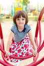 Pretty girl on the play area Royalty Free Stock Photo