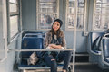 Pretty girl posing in a metro car Royalty Free Stock Photo