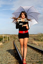 Pretty Girl by Railway Stock Photo